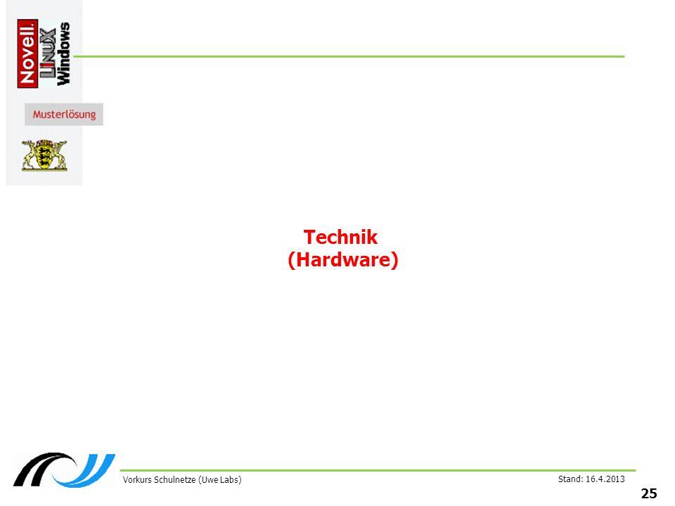 Stand: 16.4.2013 25 Vorkurs Schulnetze (Uwe Labs) Technik (Hardware)