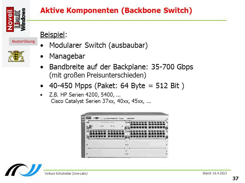 Stand: 16.4.2013 37 Vorkurs Schulnetze (Uwe Labs) Aktive Komponenten (Backbone Switch) Beispiel: Modularer Switch (ausbaubar) Managebar Bandbreite auf der Backplane: 35-700 Gbps (mit großen Preisunterschieden) 40-450 Mpps (Paket: 64 Byte = 512 Bit ) Z.B.