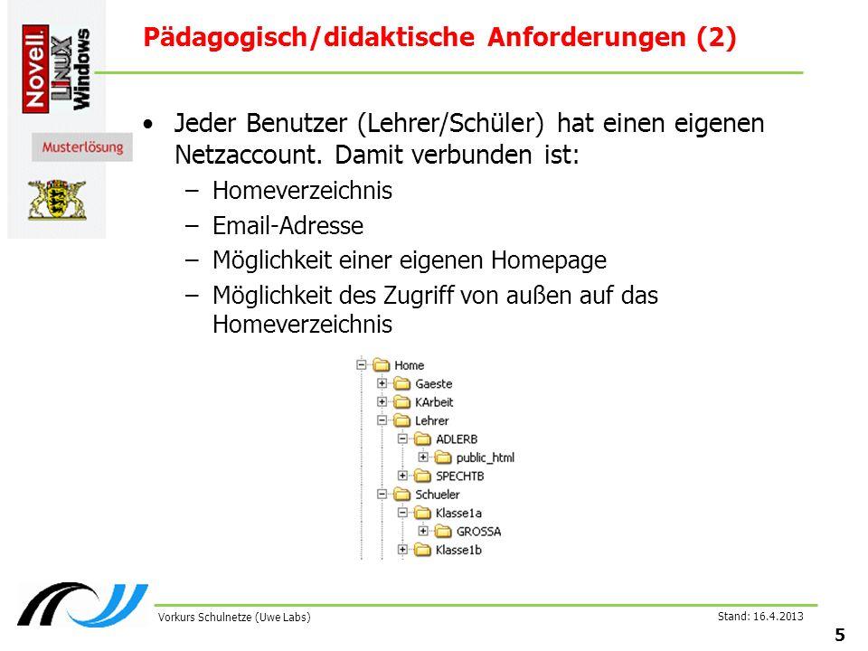 Stand: 16.4.2013 5 Vorkurs Schulnetze (Uwe Labs) Pädagogisch/didaktische Anforderungen (2) Jeder Benutzer (Lehrer/Schüler) hat einen eigenen Netzaccount.