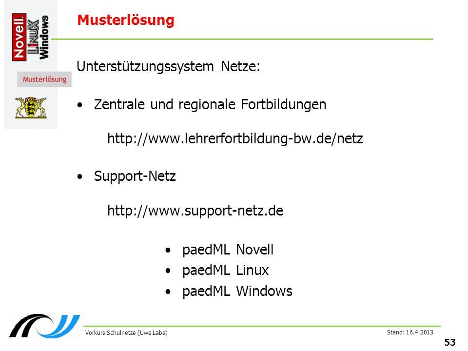 Stand: 16.4.2013 53 Vorkurs Schulnetze (Uwe Labs) Musterlösung Unterstützungssystem Netze: Zentrale und regionale Fortbildungen http://www.lehrerfortbildung-bw.de/netz Support-Netz http://www.support-netz.de paedML Novell paedML Linux paedML Windows
