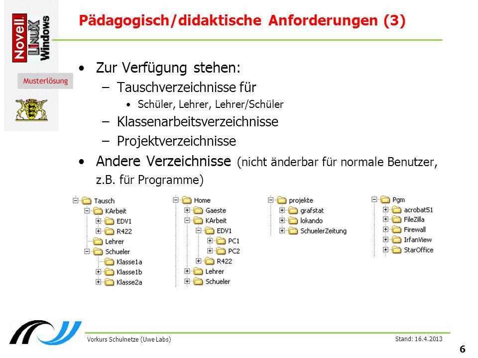 Stand: 16.4.2013 7 Vorkurs Schulnetze (Uwe Labs) Pädagogisch/didaktische Anforderungen (4) Lehrer sehen Schülerverzeichnisse Lehrersicht:Schülersicht: Lehrer können Schülerpassworte ändern Beschränkung von Plattenplatz individuell für Benutzer oder Verzeichnisse möglich