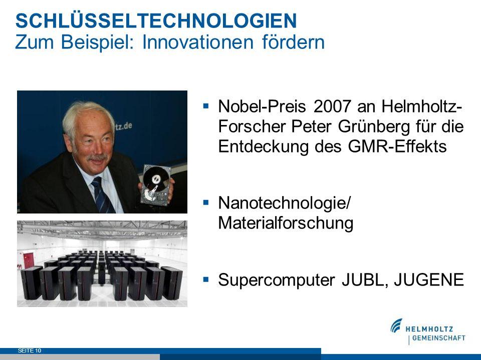 SEITE 10 SCHLÜSSELTECHNOLOGIEN Zum Beispiel: Innovationen fördern Nobel-Preis 2007 an Helmholtz- Forscher Peter Grünberg für die Entdeckung des GMR-Ef