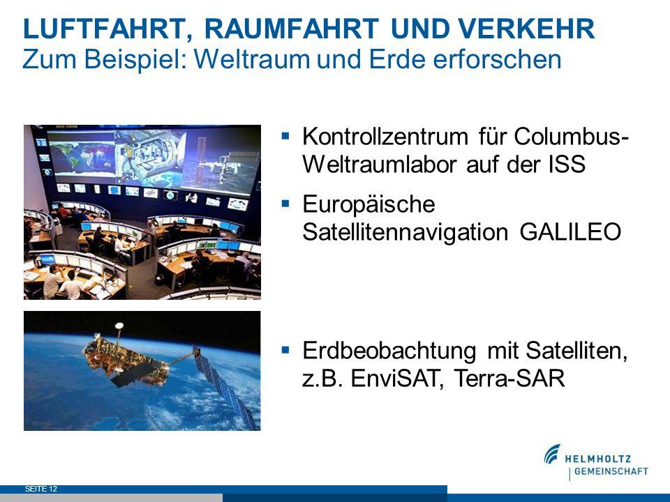 SEITE 12 LUFTFAHRT, RAUMFAHRT UND VERKEHR Zum Beispiel: Weltraum und Erde erforschen Kontrollzentrum für Columbus- Weltraumlabor auf der ISS Europäisc