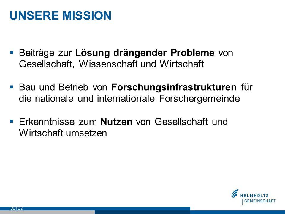 SEITE 2 UNSERE MISSION Beiträge zur Lösung drängender Probleme von Gesellschaft, Wissenschaft und Wirtschaft Bau und Betrieb von Forschungsinfrastrukt