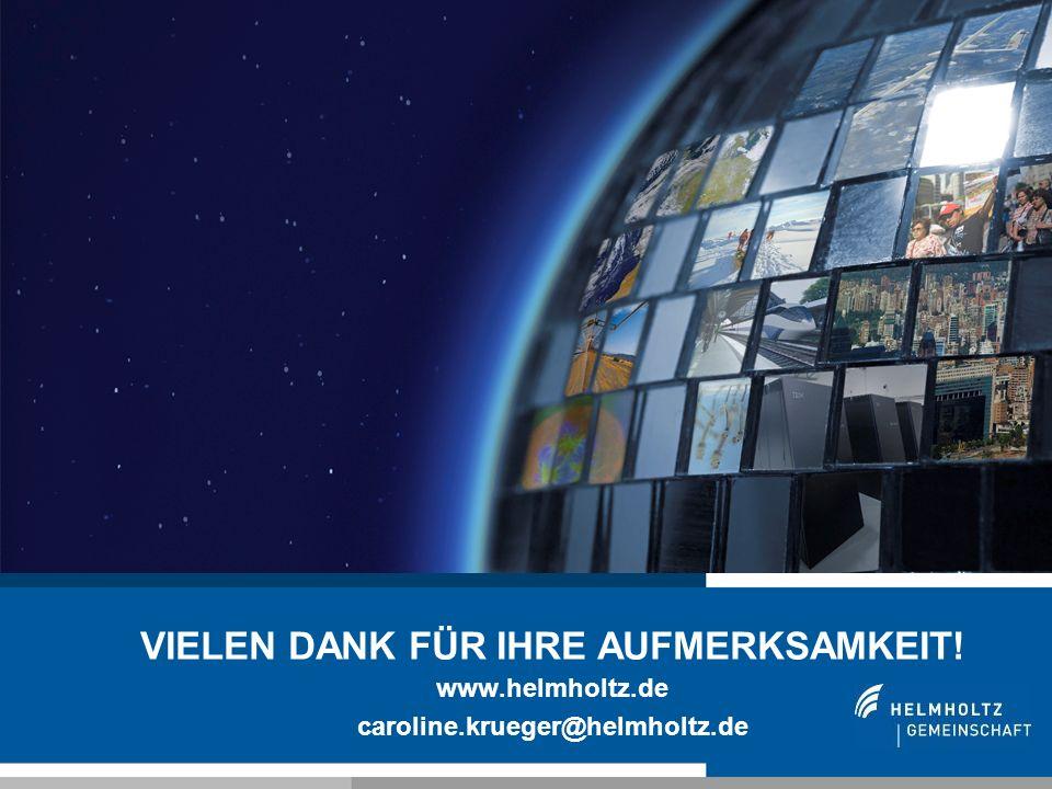 21 VIELEN DANK FÜR IHRE AUFMERKSAMKEIT! www.helmholtz.de caroline.krueger@helmholtz.de