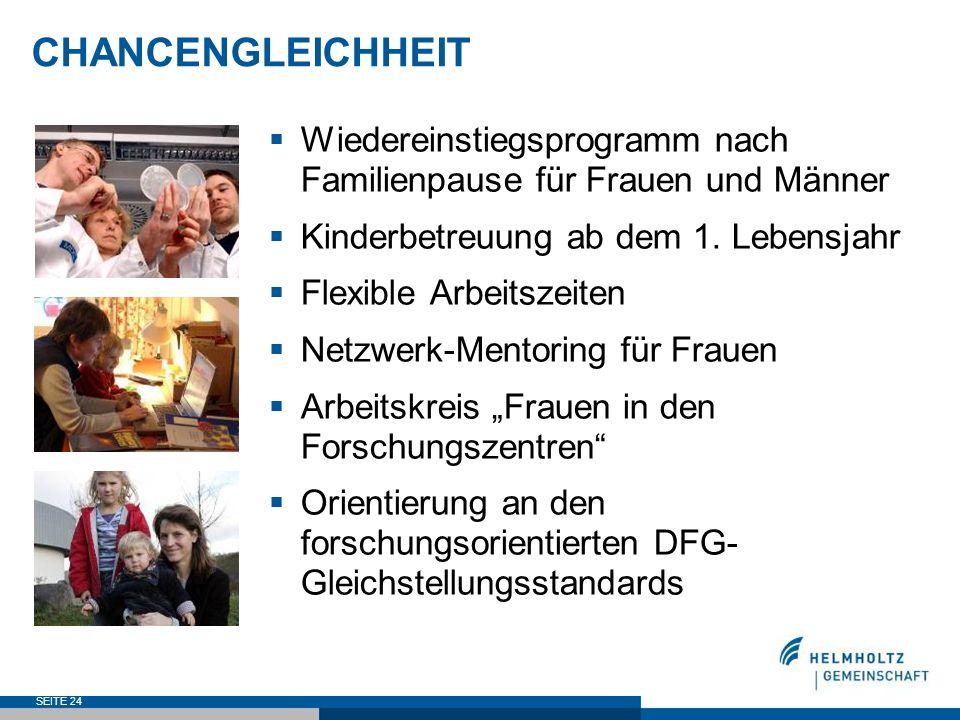 SEITE 24 CHANCENGLEICHHEIT Wiedereinstiegsprogramm nach Familienpause für Frauen und Männer Kinderbetreuung ab dem 1. Lebensjahr Flexible Arbeitszeite
