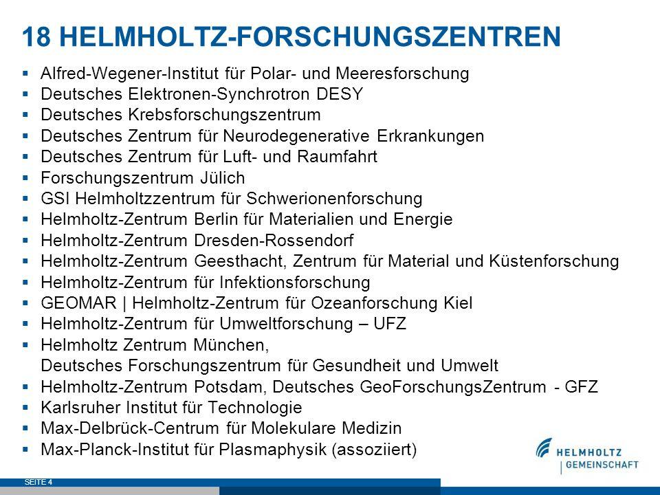 18 HELMHOLTZ-FORSCHUNGSZENTREN Alfred-Wegener-Institut für Polar- und Meeresforschung Deutsches Elektronen-Synchrotron DESY Deutsches Krebsforschungsz