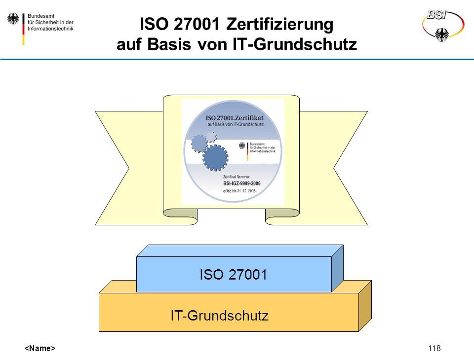 118 ISO 27001 Zertifizierung auf Basis von IT-Grundschutz IT-Grundschutz ISO 27001