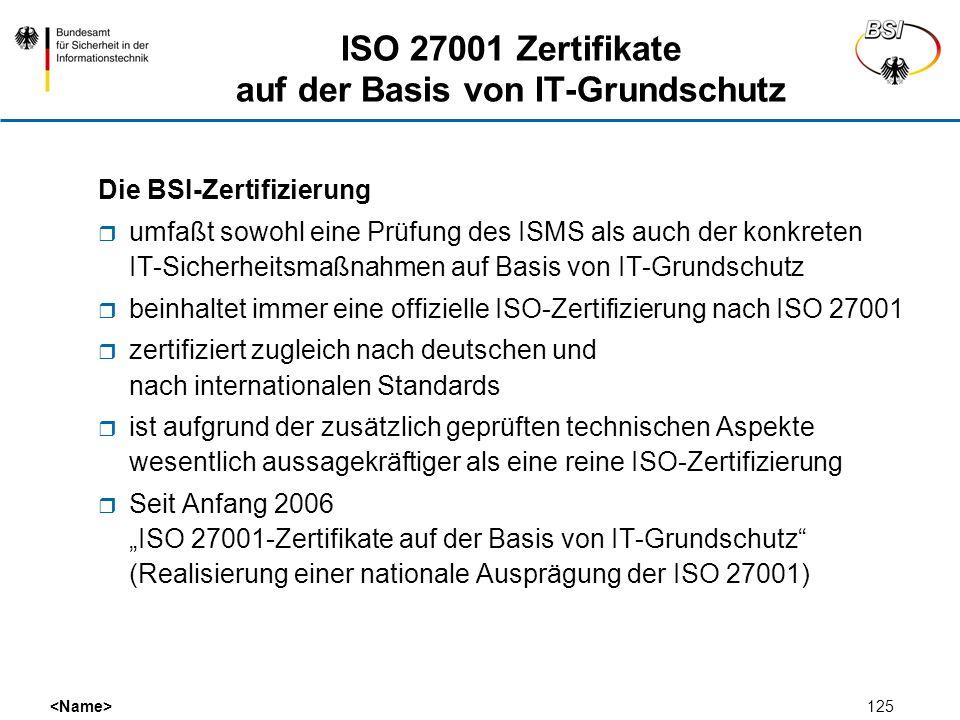 125 ISO 27001 Zertifikate auf der Basis von IT-Grundschutz Die BSI-Zertifizierung umfaßt sowohl eine Prüfung des ISMS als auch der konkreten IT-Sicher