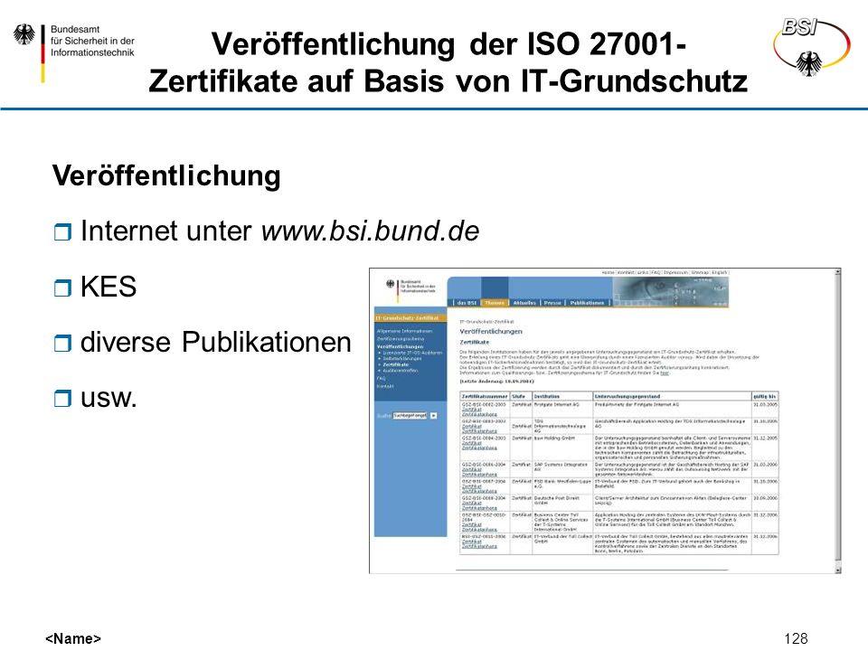 128 Veröffentlichung der ISO 27001- Zertifikate auf Basis von IT-Grundschutz Veröffentlichung Internet unter www.bsi.bund.de KES diverse Publikationen