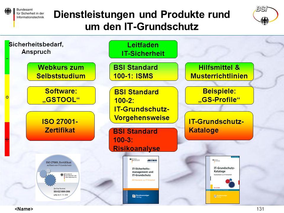 131 Dienstleistungen und Produkte rund um den IT-Grundschutz Webkurs zum Selbststudium ISO 27001- Zertifikat Leitfaden IT-Sicherheit Software: GSTOOL