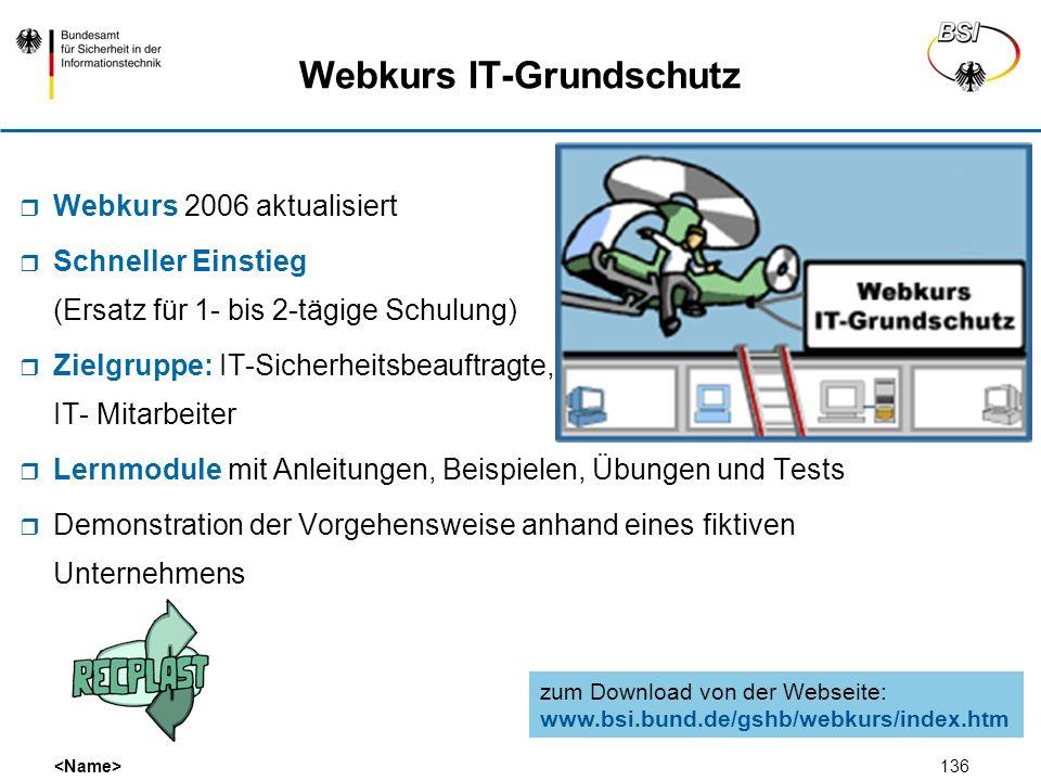 136 Webkurs 2006 aktualisiert Schneller Einstieg (Ersatz für 1- bis 2-tägige Schulung) Zielgruppe: IT-Sicherheitsbeauftragte, IT- Mitarbeiter Lernmodu