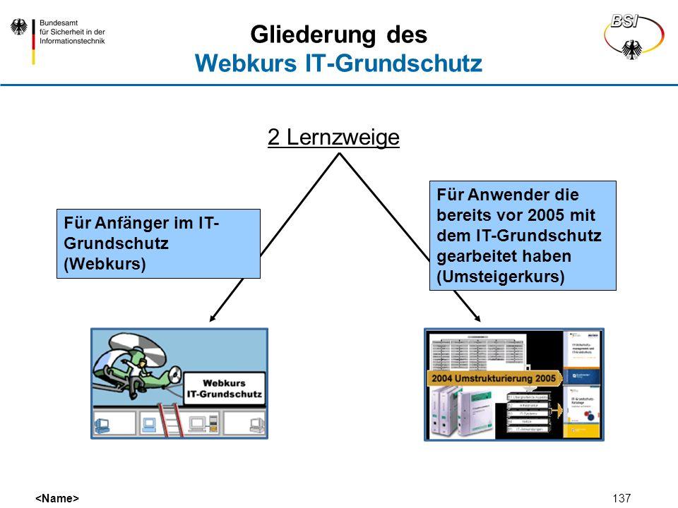 137 2 Lernzweige Gliederung des Webkurs IT-Grundschutz Für Anfänger im IT- Grundschutz (Webkurs) Für Anwender die bereits vor 2005 mit dem IT-Grundsch