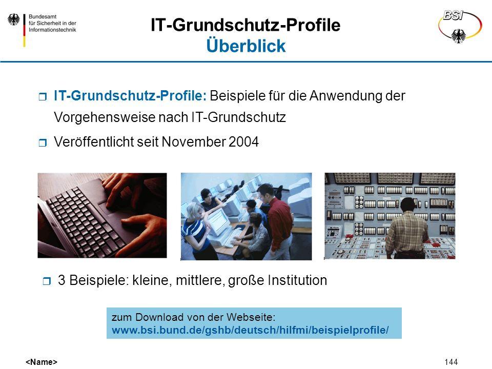 144 IT-Grundschutz-Profile Überblick 3 Beispiele: kleine, mittlere, große Institution IT-Grundschutz-Profile: Beispiele für die Anwendung der Vorgehen