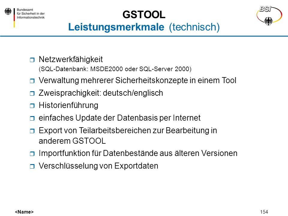 154 Netzwerkfähigkeit (SQL-Datenbank: MSDE2000 oder SQL-Server 2000) Verwaltung mehrerer Sicherheitskonzepte in einem Tool Zweisprachigkeit: deutsch/e