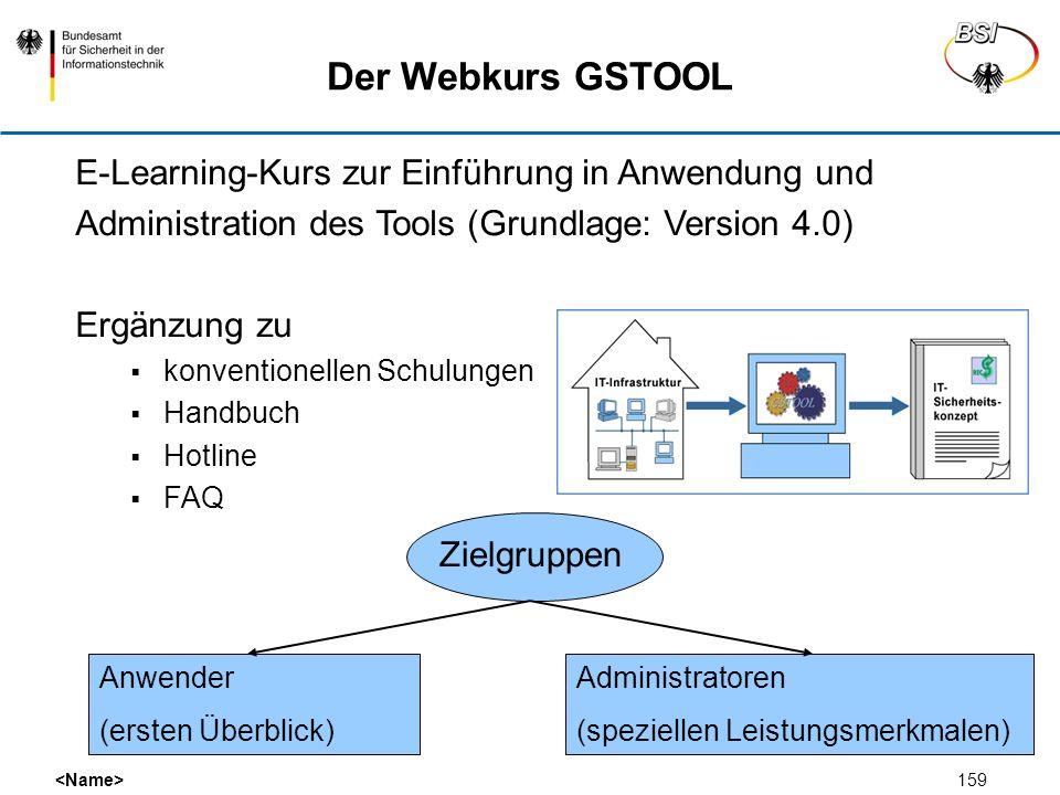 159 Der Webkurs GSTOOL E-Learning-Kurs zur Einführung in Anwendung und Administration des Tools (Grundlage: Version 4.0) Ergänzung zu konventionellen