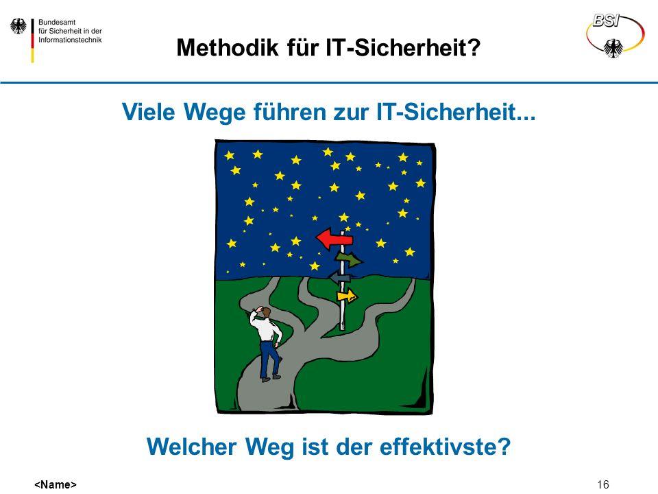 16 Methodik für IT-Sicherheit? Viele Wege führen zur IT-Sicherheit... Welcher Weg ist der effektivste?