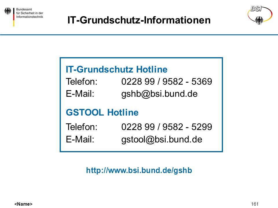 161 IT-Grundschutz-Informationen IT-Grundschutz Hotline Telefon:0228 99 / 9582 - 5369 E-Mail:gshb@bsi.bund.de GSTOOL Hotline Telefon:0228 99 / 9582 -