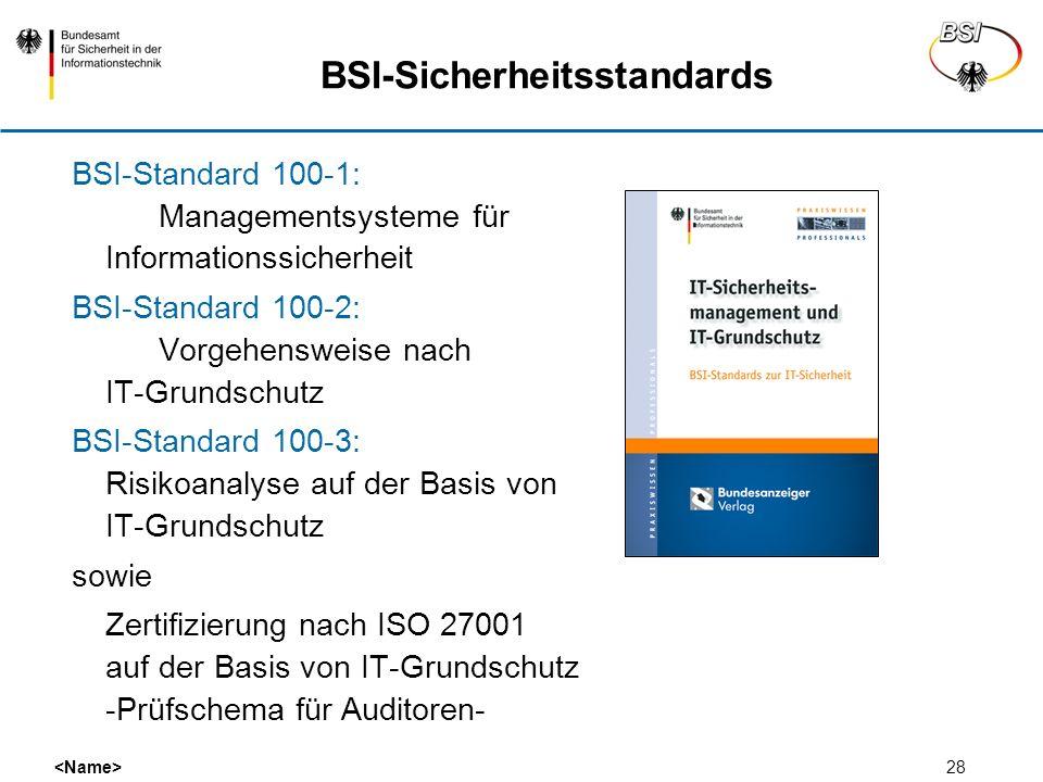 28 BSI-Sicherheitsstandards BSI-Standard 100-1: Managementsysteme für Informationssicherheit BSI-Standard 100-2: Vorgehensweise nach IT-Grundschutz BS