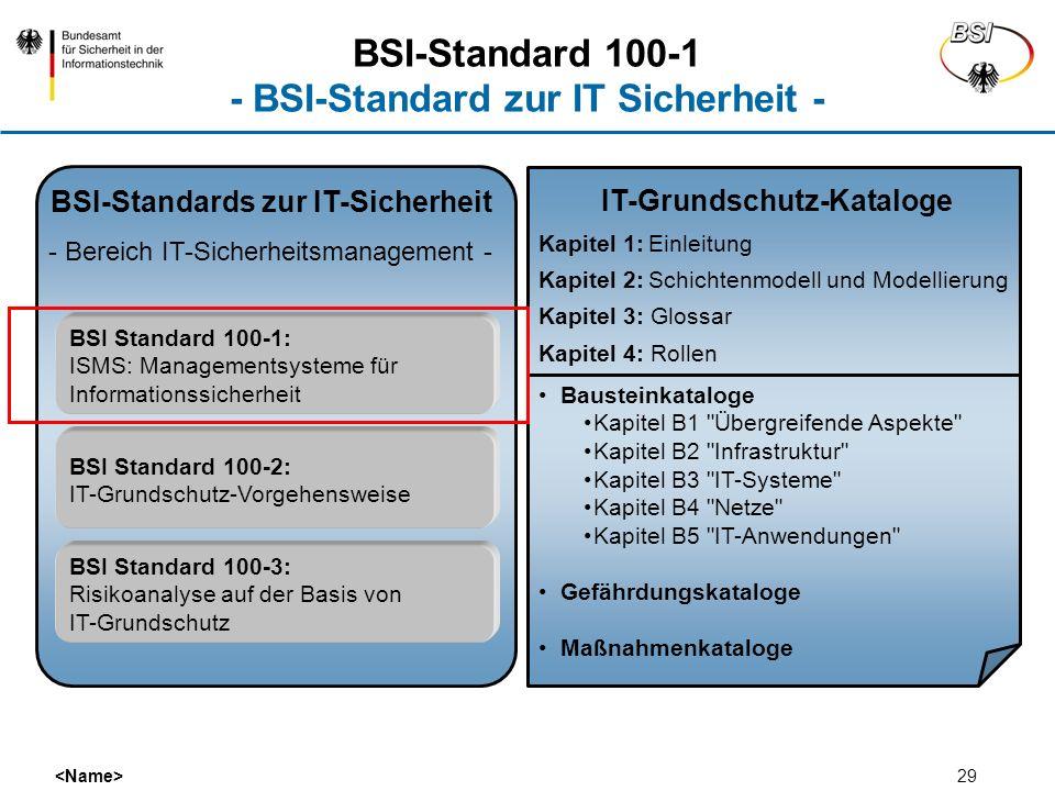 29 BSI-Standards zur IT-Sicherheit - Bereich IT-Sicherheitsmanagement - BSI Standard 100-1: ISMS: Managementsysteme für Informationssicherheit BSI Sta