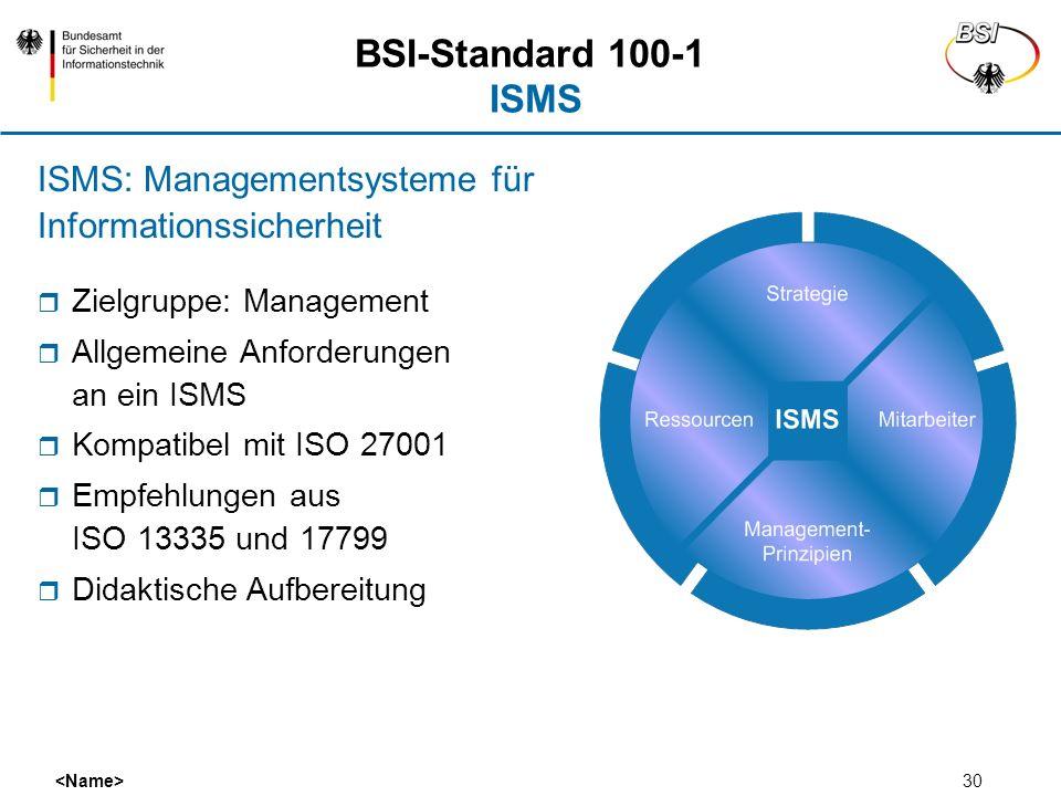 30 BSI-Standard 100-1 ISMS Zielgruppe: Management Allgemeine Anforderungen an ein ISMS Kompatibel mit ISO 27001 Empfehlungen aus ISO 13335 und 17799 D