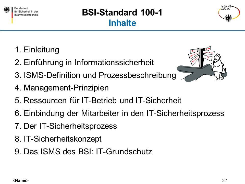 32 BSI-Standard 100-1 Inhalte 1. Einleitung 2. Einführung in Informationssicherheit 3. ISMS-Definition und Prozessbeschreibung 4. Management-Prinzipie