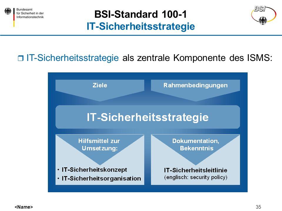 35 BSI-Standard 100-1 IT-Sicherheitsstrategie IT-Sicherheitsstrategie als zentrale Komponente des ISMS: