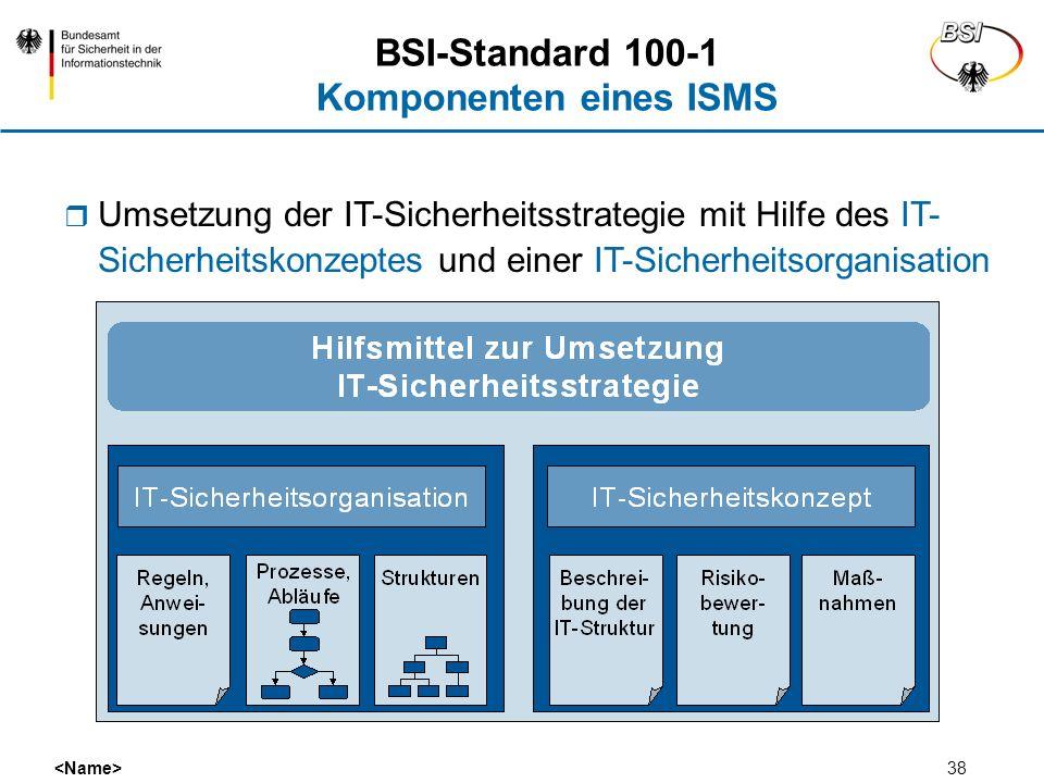 38 BSI-Standard 100-1 Komponenten eines ISMS Umsetzung der IT-Sicherheitsstrategie mit Hilfe des IT- Sicherheitskonzeptes und einer IT-Sicherheitsorga