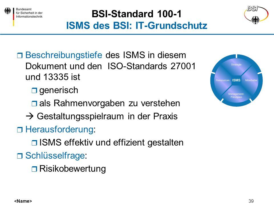 39 Beschreibungstiefe des ISMS in diesem Dokument und den ISO-Standards 27001 und 13335 ist generisch als Rahmenvorgaben zu verstehen Gestaltungsspiel