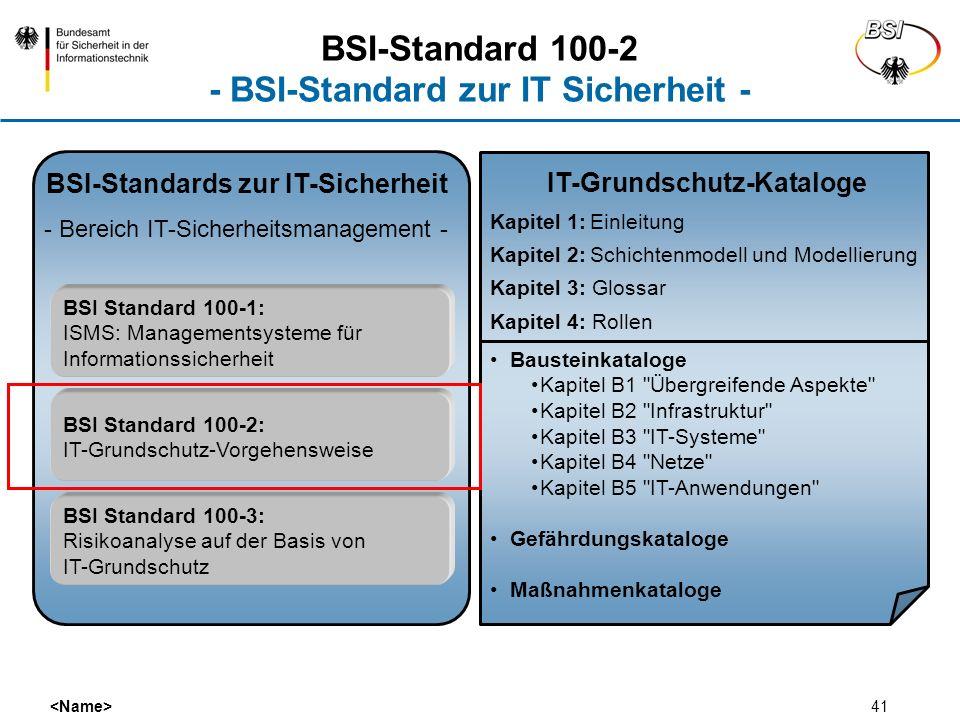 41 BSI-Standards zur IT-Sicherheit - Bereich IT-Sicherheitsmanagement - BSI Standard 100-1: ISMS: Managementsysteme für Informationssicherheit BSI Sta