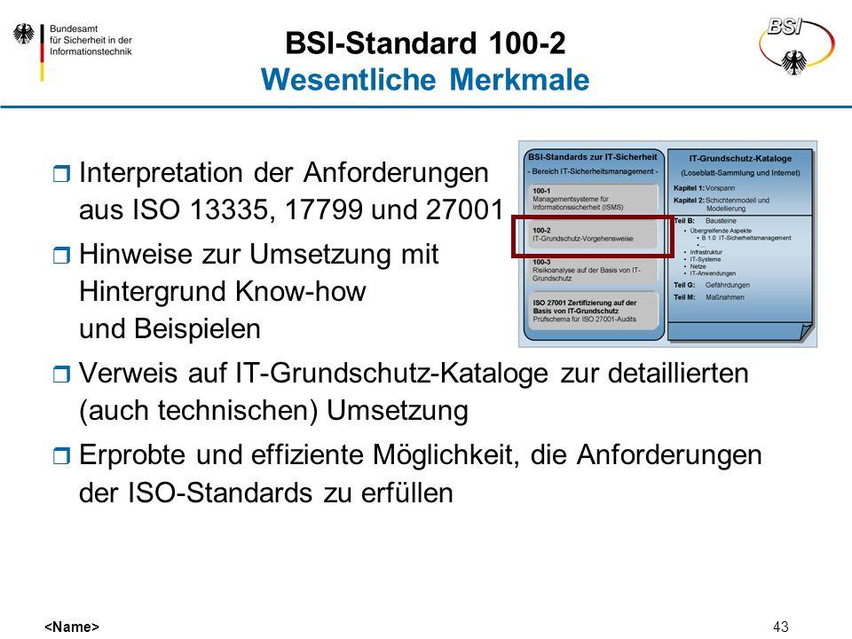 43 BSI-Standard 100-2 Wesentliche Merkmale Interpretation der Anforderungen aus ISO 13335, 17799 und 27001 Hinweise zur Umsetzung mit Hintergrund Know