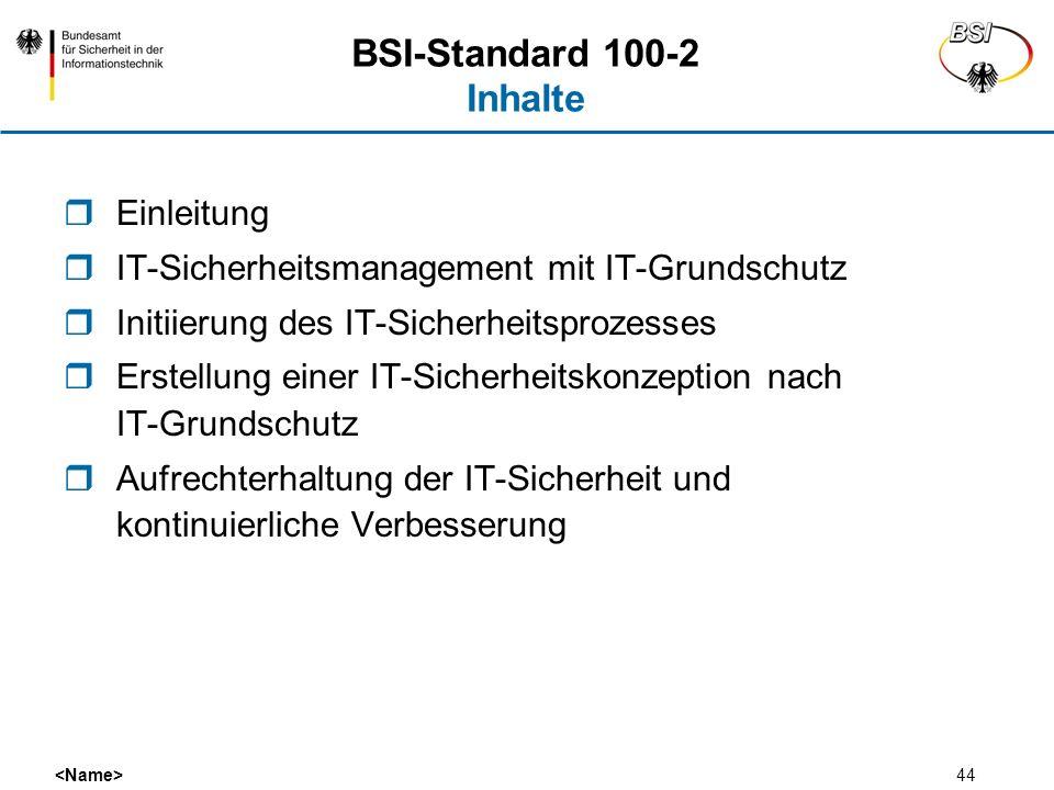 44 BSI-Standard 100-2 Inhalte Einleitung IT-Sicherheitsmanagement mit IT-Grundschutz Initiierung des IT-Sicherheitsprozesses Erstellung einer IT-Siche