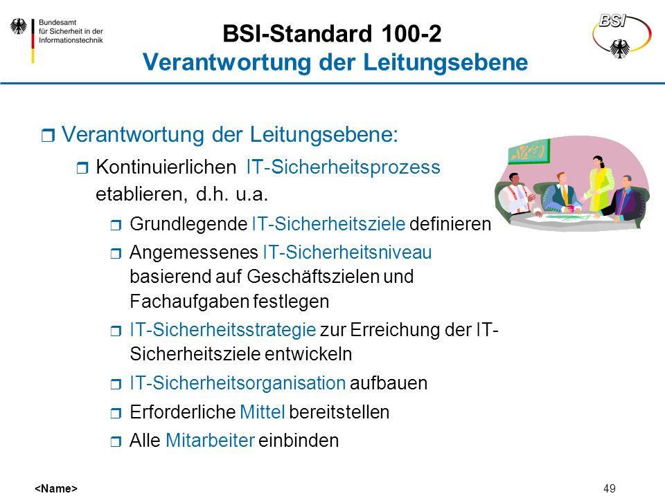 49 BSI-Standard 100-2 Verantwortung der Leitungsebene Verantwortung der Leitungsebene: Kontinuierlichen IT-Sicherheitsprozess etablieren, d.h. u.a. Gr