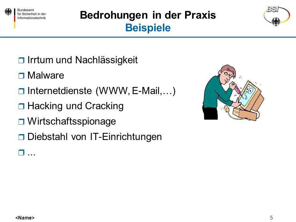 5 Bedrohungen in der Praxis Beispiele Irrtum und Nachlässigkeit Malware Internetdienste (WWW, E-Mail,…) Hacking und Cracking Wirtschaftsspionage Diebs