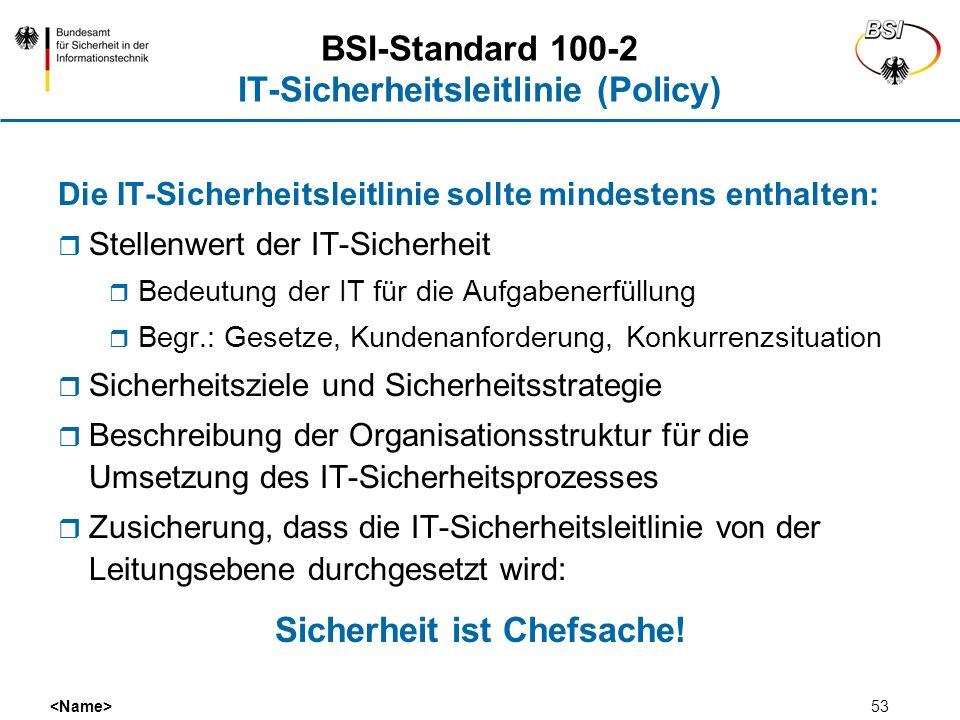 53 BSI-Standard 100-2 IT-Sicherheitsleitlinie (Policy) Die IT-Sicherheitsleitlinie sollte mindestens enthalten: Stellenwert der IT-Sicherheit Bedeutun