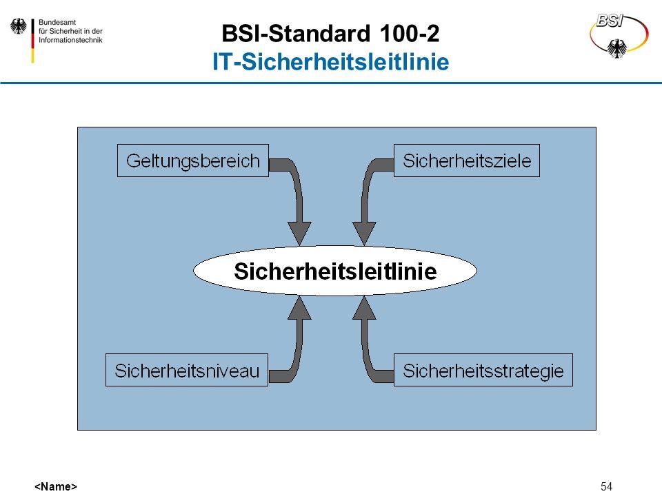 54 BSI-Standard 100-2 IT-Sicherheitsleitlinie