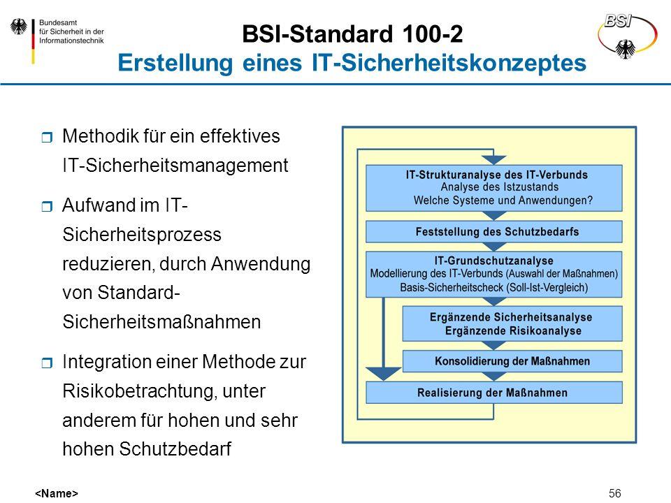 56 BSI-Standard 100-2 Erstellung eines IT-Sicherheitskonzeptes Methodik für ein effektives IT-Sicherheitsmanagement Aufwand im IT- Sicherheitsprozess