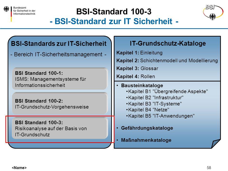 58 BSI-Standards zur IT-Sicherheit - Bereich IT-Sicherheitsmanagement - BSI Standard 100-1: ISMS: Managementsysteme für Informationssicherheit BSI Sta
