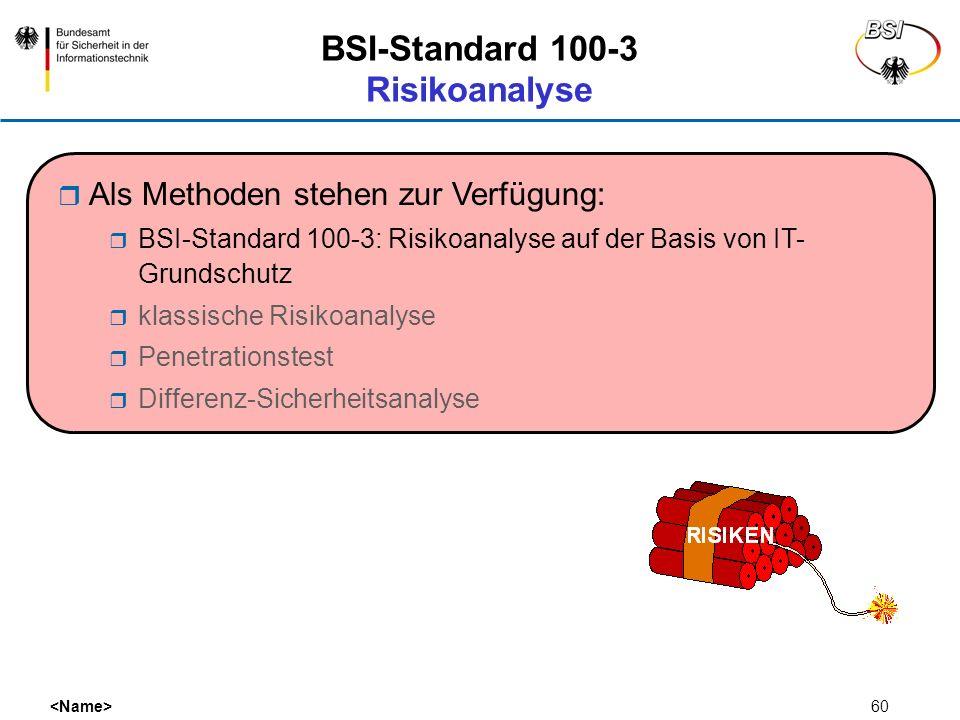 60 BSI-Standard 100-3 Risikoanalyse Als Methoden stehen zur Verfügung: BSI-Standard 100-3: Risikoanalyse auf der Basis von IT- Grundschutz klassische