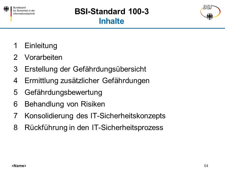 64 BSI-Standard 100-3 Inhalte 1Einleitung 2Vorarbeiten 3Erstellung der Gefährdungsübersicht 4Ermittlung zusätzlicher Gefährdungen 5Gefährdungsbewertun