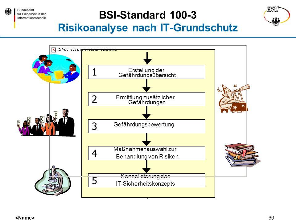 66 BSI-Standard 100-3 Risikoanalyse nach IT-Grundschutz Erstellung der Gefährdungsübersicht Ermittlung zusätzlicher Gefährdungen Gefährdungsbewertung
