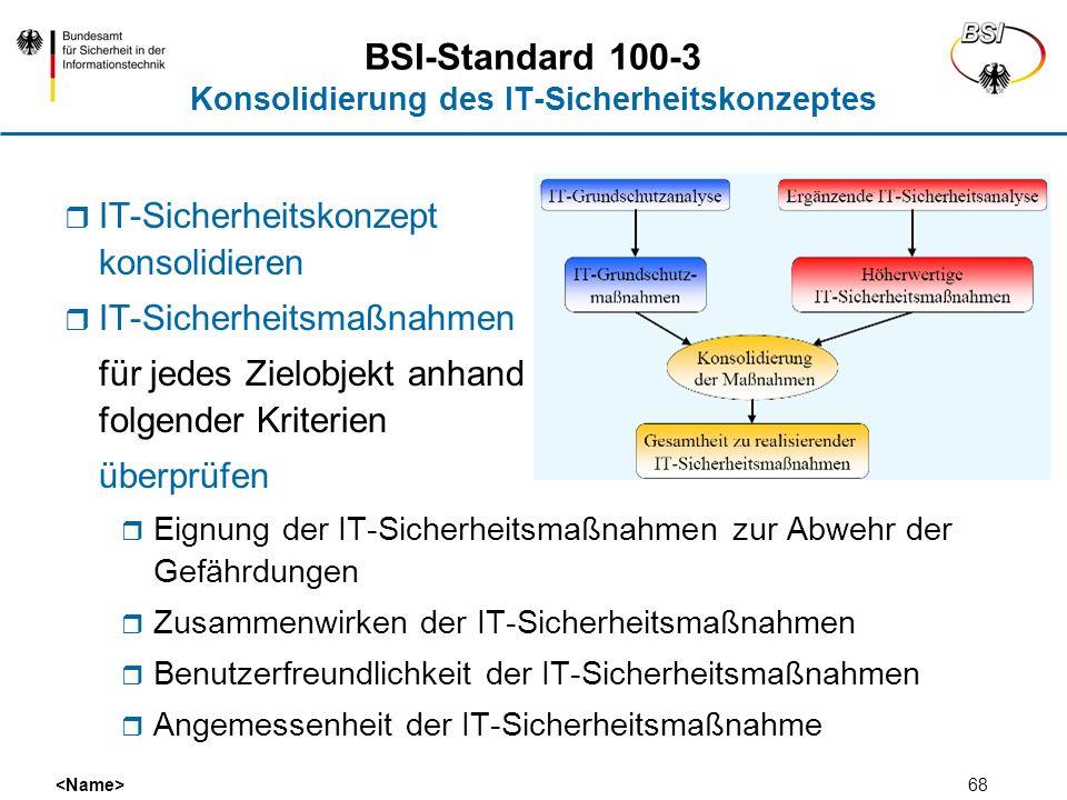 68 BSI-Standard 100-3 Konsolidierung des IT-Sicherheitskonzeptes IT-Sicherheitskonzept konsolidieren IT-Sicherheitsmaßnahmen für jedes Zielobjekt anha