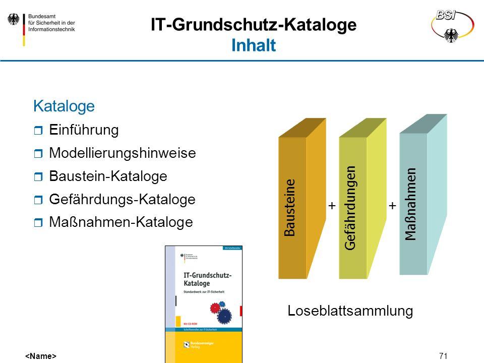 71 IT-Grundschutz-Kataloge Inhalt Kataloge Einführung Modellierungshinweise Baustein-Kataloge Gefährdungs-Kataloge Maßnahmen-Kataloge GefährdungenBaus