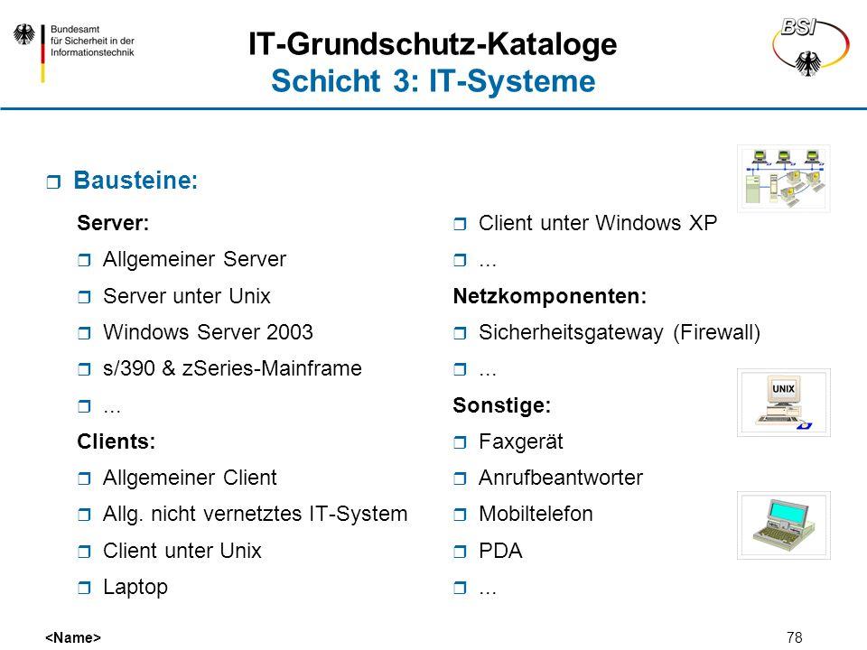 78 IT-Grundschutz-Kataloge Schicht 3: IT-Systeme Server: Allgemeiner Server Server unter Unix Windows Server 2003 s/390 & zSeries-Mainframe... Clients