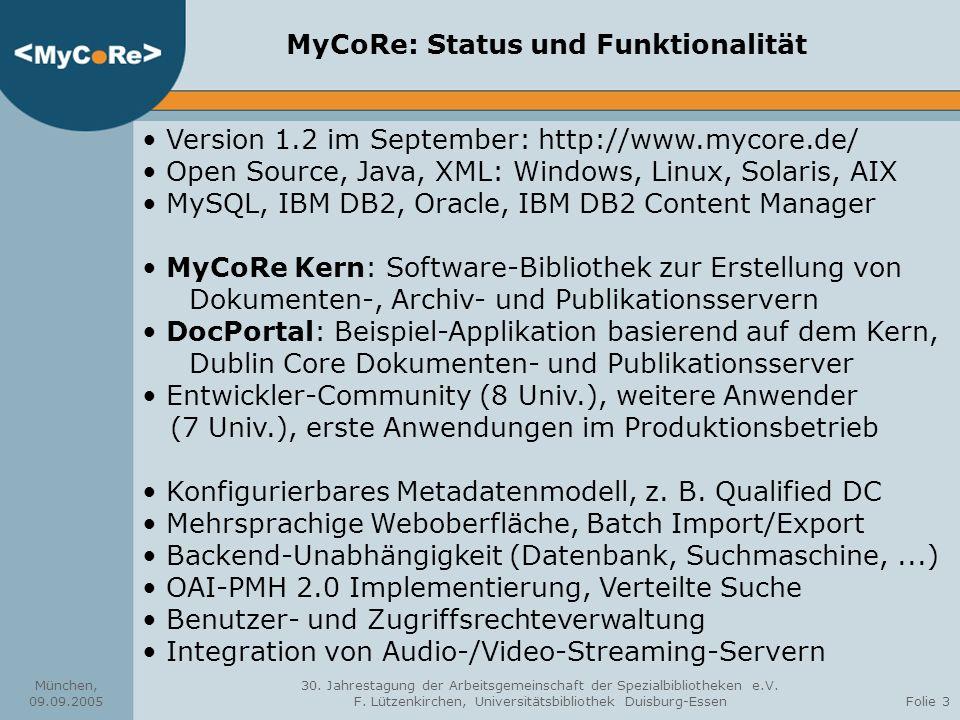 München, 09.09.2005 30.Jahrestagung der Arbeitsgemeinschaft der Spezialbibliotheken e.V.