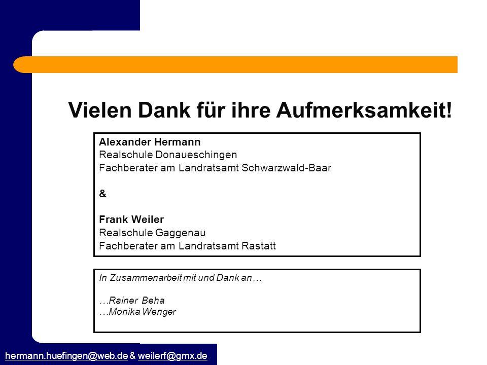 hermann.huefingen@web.dehermann.huefingen@web.de & weilerf@gmx.deweilerf@gmx.de Vielen Dank für ihre Aufmerksamkeit! In Zusammenarbeit mit und Dank an
