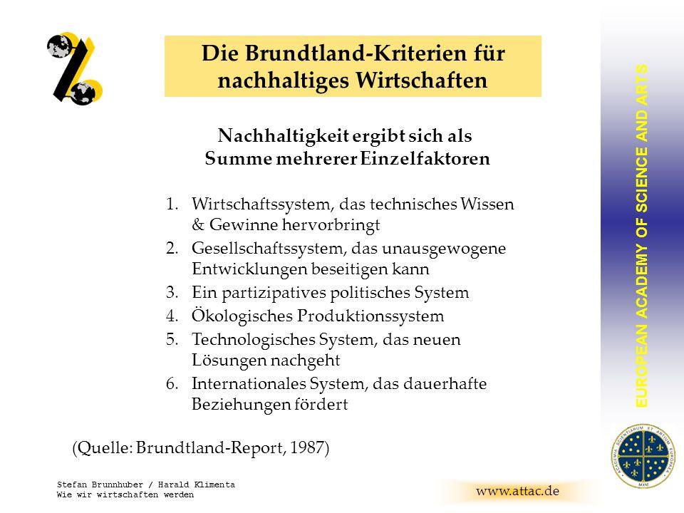 EUROPEAN ACADEMY OF SCIENCE AND ARTS BRUNNHUBER www.attac.de Stefan Brunnhuber / Harald Klimenta Wie wir wirtschaften werden Die Brundtland-Kriterien