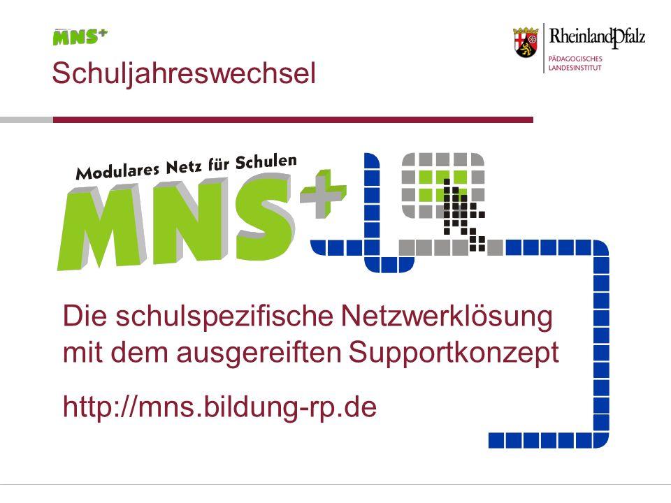 Die schulspezifische Netzwerklösung mit dem ausgereiften Supportkonzept http://mns.bildung-rp.de Schuljahreswechsel