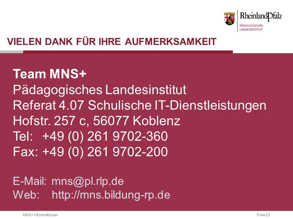 Folie 23 MNS+ Informationen VIELEN DANK FÜR IHRE AUFMERKSAMKEIT Team MNS+ Pädagogisches Landesinstitut Referat 4.07 Schulische IT-Dienstleistungen Hof