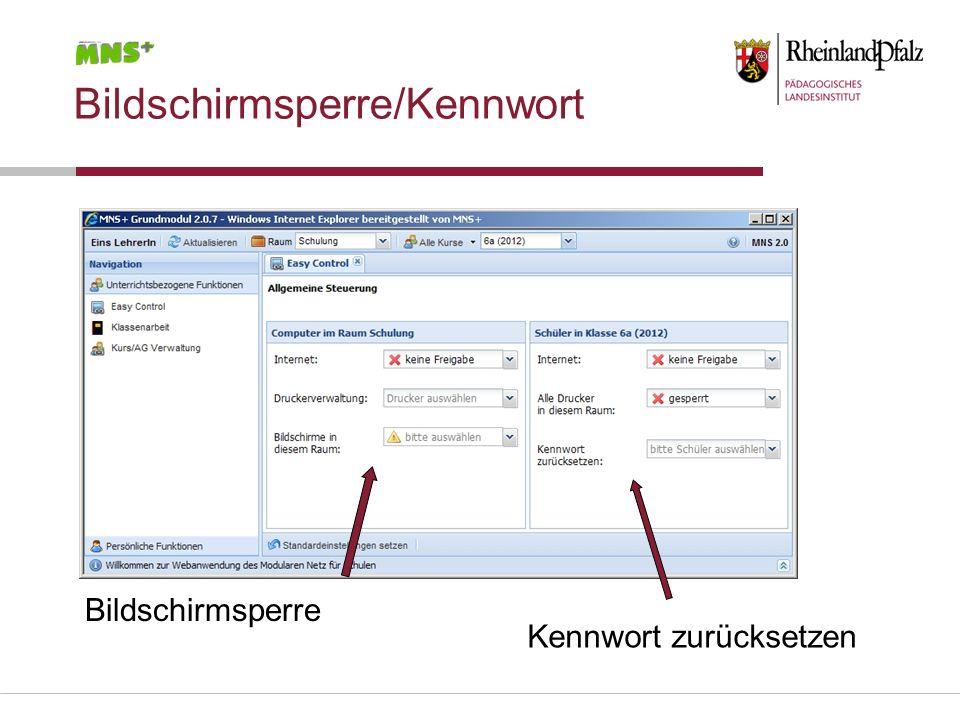 Bildschirmsperre/Kennwort Bildschirmsperre Kennwort zurücksetzen